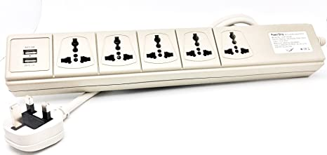The 220 Volt Plug Amazon Com >> Vct Usp 500uk Universal Usb Port 110v 220v Power Strip Ivory