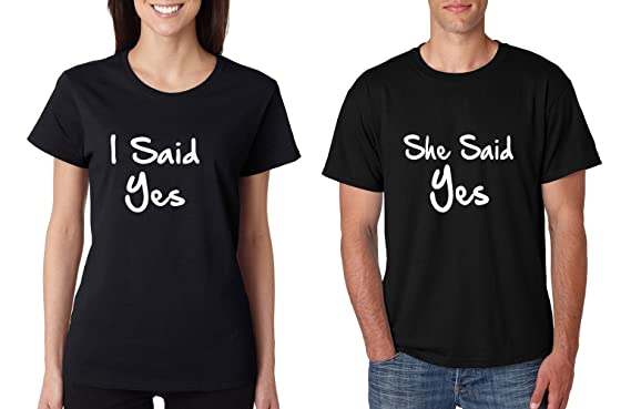 9ec3527c89 Allntrends Couple T Shirts I Said She Said Yes Love Engagement Shirts  (Womens 2XL Mens