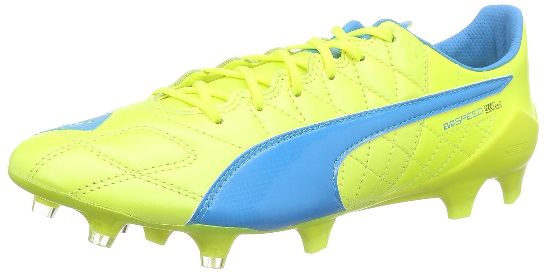 Puma Evospeed SL LTH FG - Zapatillas de Fútbol de Piel Hombre 46 EU|Amarillo - Gelb (Safety Yellow-atomic Blue-white 04)