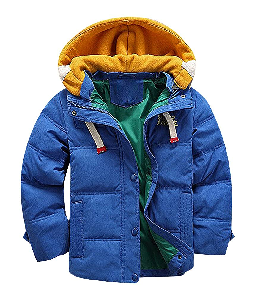 BPrince Boys Quilted Contrast Cotton Hood /& Lining Zip /& Button Up Down Jacket