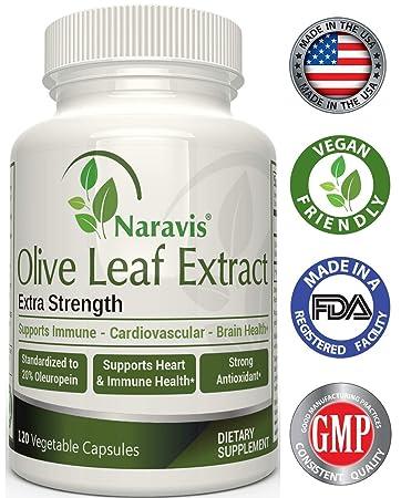 Naravis Olive Leaf Extract - 750mg - 120 Veggie Capsules - 20% Oleuropein -  Non-GMO - Immune Support -