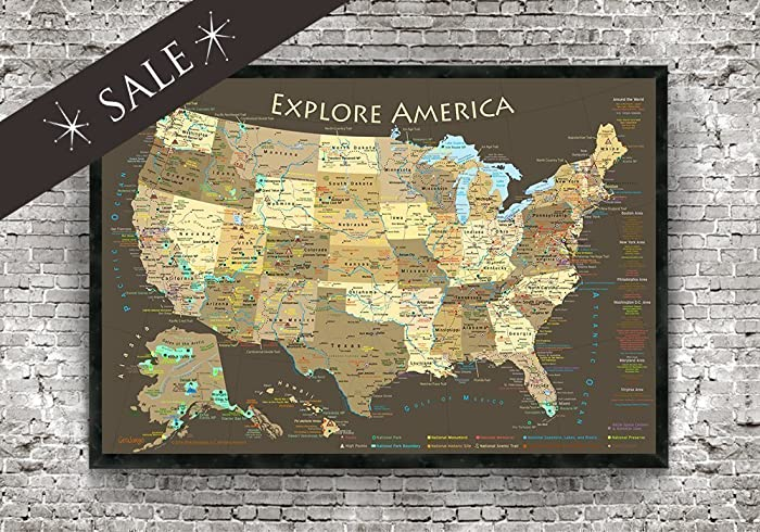 Explore America Usa Map With National Parks Historical Cities Usa Peaks Highest Elevations