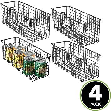 Cajas de almacenaje altas con asas oficina y otras estancias plateado mate Cestos met/álicos de alambre compactos para cocina ba/ño mDesign Juego de 6 cestas organizadoras multiusos