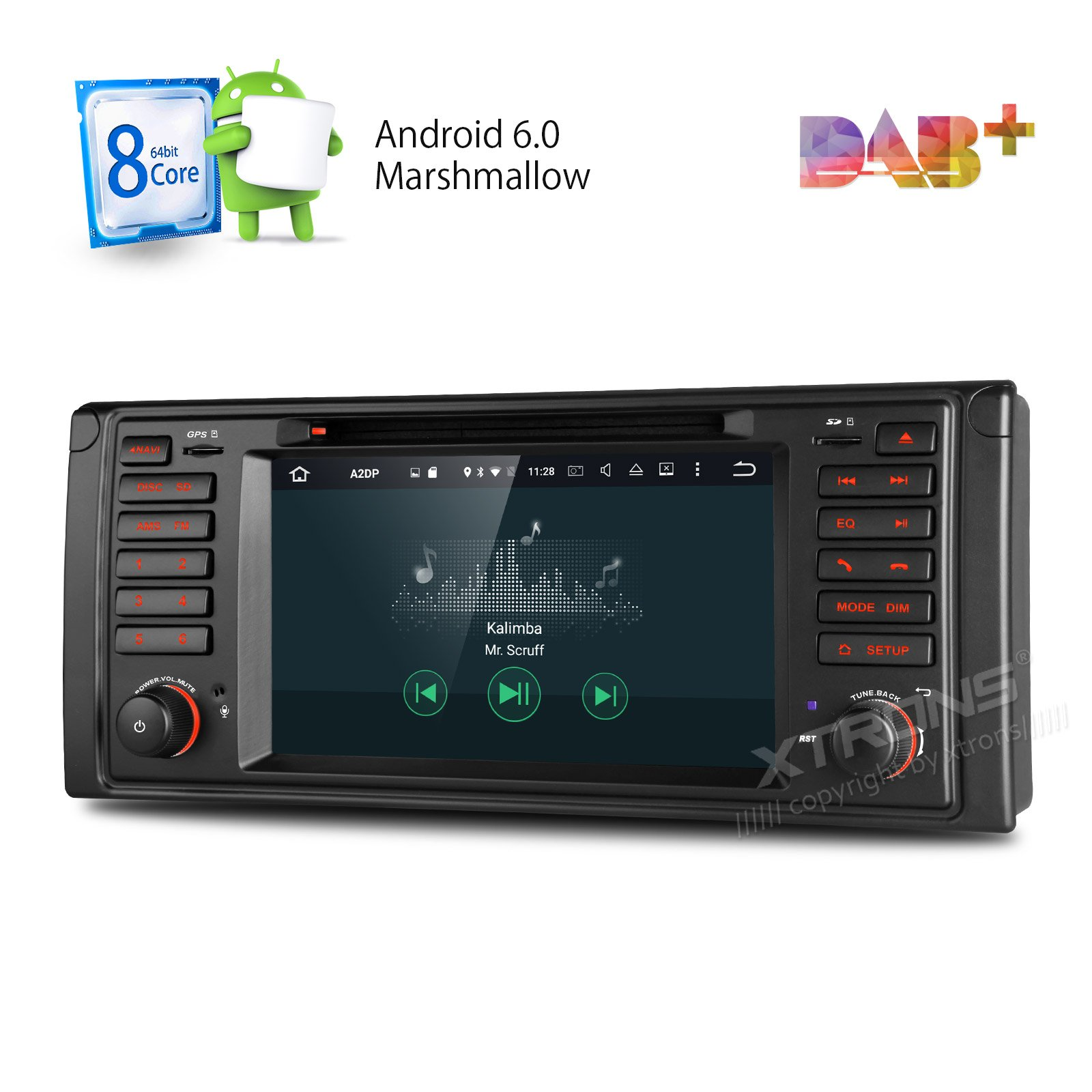 XTRONS Octa-Core 64Bit 2G RAM 32GB ROM 7 Inch Capacitive Touch Screen Car Stereo Radio DVD Player GPS CANbus Screen Mirroring Function OBD2 Tire Pressure Monitoring for BMW 5 Series E39 E53 X5