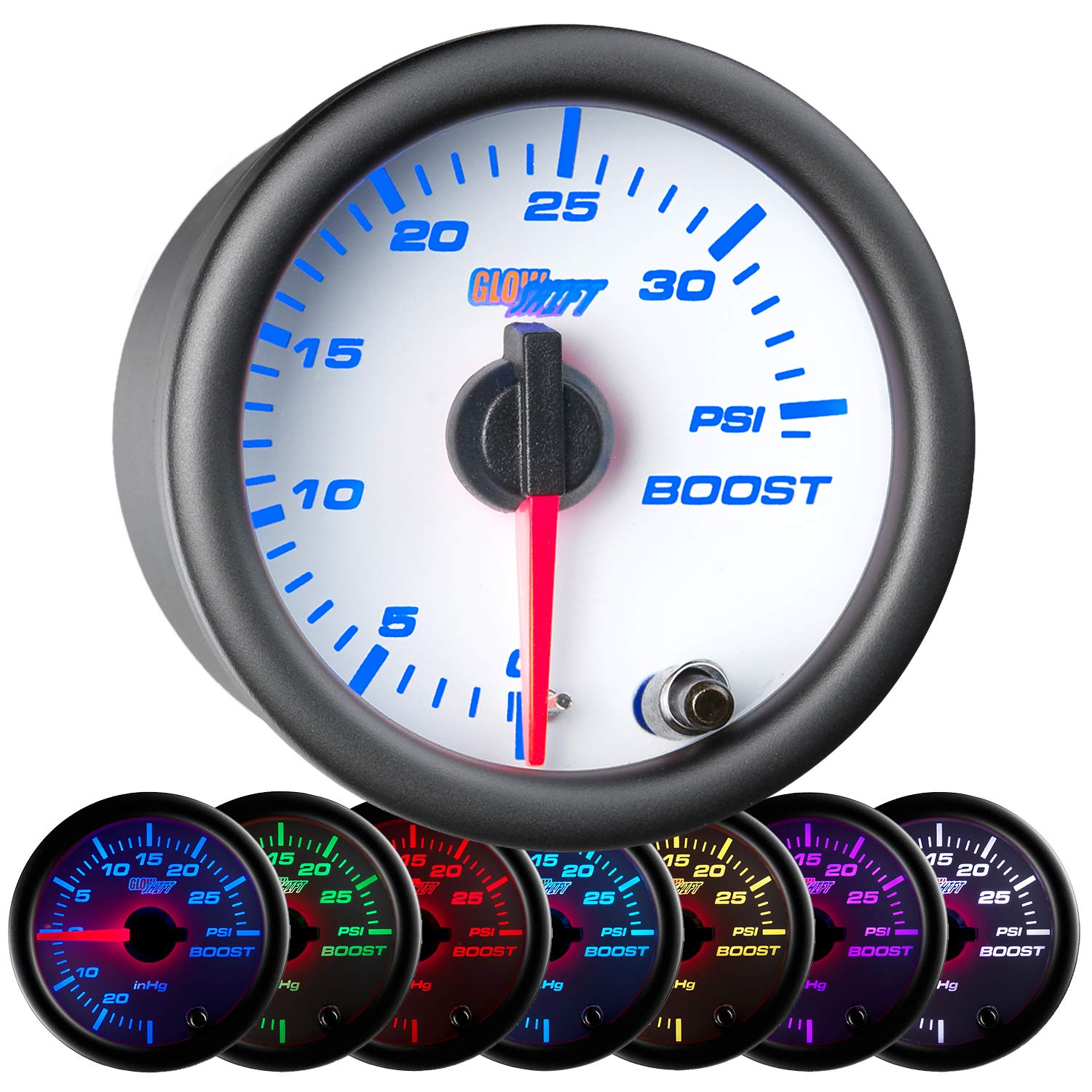 GlowShift White 7 Color 35 PSI Turbo Boost Gauge Kit - Includes Mechanical Hose & Fittings - White Dial - Clear Lens - For Car & Truck - 2-1/16'' 52mm