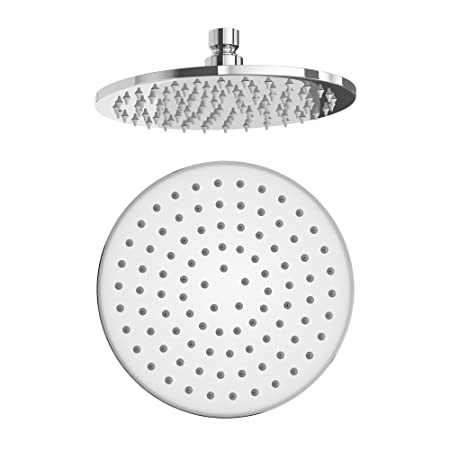 8 Inch Round Fixed Rainfall Brass Shower Head Easy Clean Chrome Swivel Joint