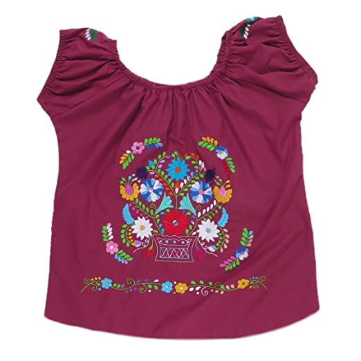 Mexican Clothing Co Womens Mexican Blouse Elastic Shoulder Tehuacan