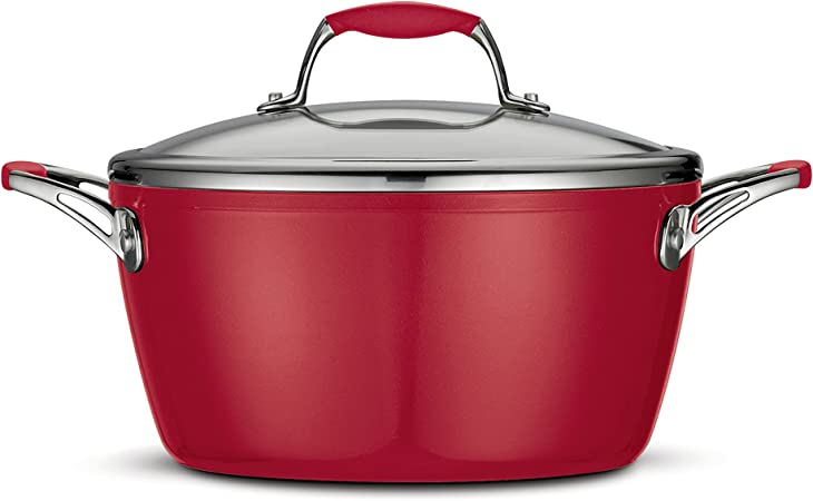 Tramontina 80110 064DS Gourmet Ceramica Deluxe Covered Dutch Oven, PFOA- PTFE- Lead and Cadmium-Free Ceramic Exterior Interior, 5-Quart, Metallic Red, Made in Italy