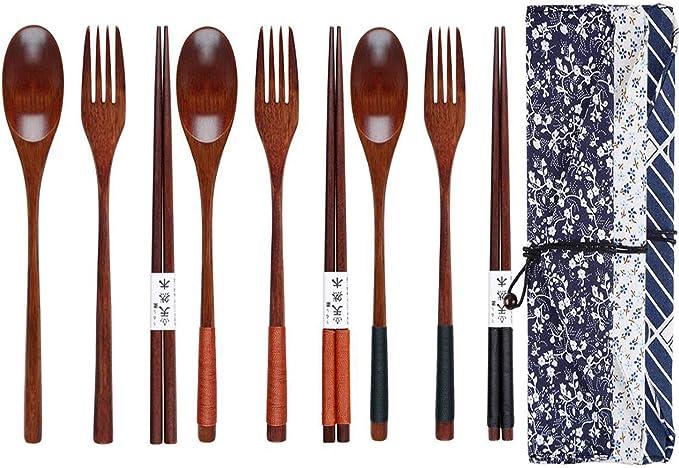 Dofilachy - Juego de 3 cubiertos de bambú para viajes, utensilios de viaje portátiles, incluye palillos de cocina reutilizables con bolsas de algodón