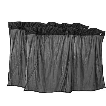 Amico 2 Pcs Suction Cup Black Mesh Window Curtains Car Sun Shade 50 Cm X 75