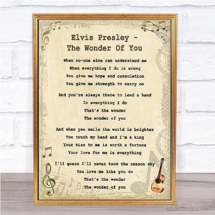 Amazon com: The Wonder of You Vintage Guitar Song Lyric Wall Art