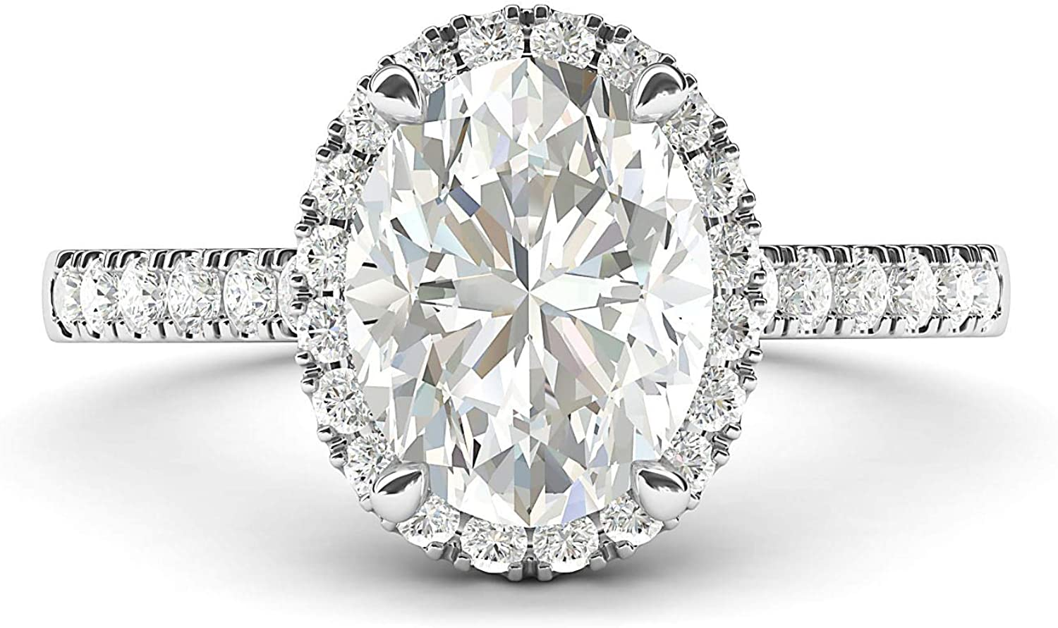 10k White Gold Simulated Oval Cut Diamond Halo Engagement Ring with Side Stones Promise Bridal Ring