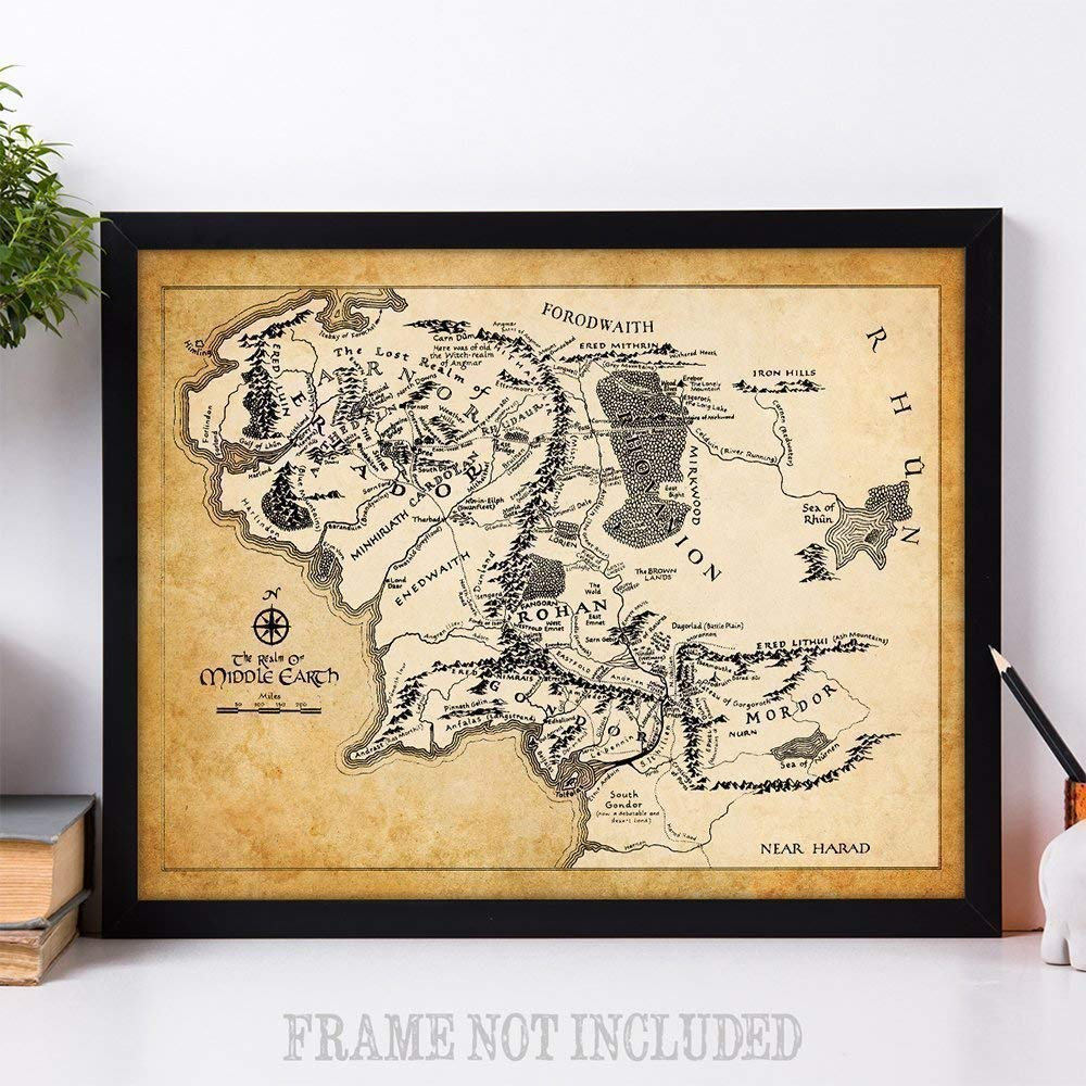 Makes a Great Gift Under $15 for Lord of the Ring and Hobbit Fans Map of Middle Earth 11x14 Unframed Art Print