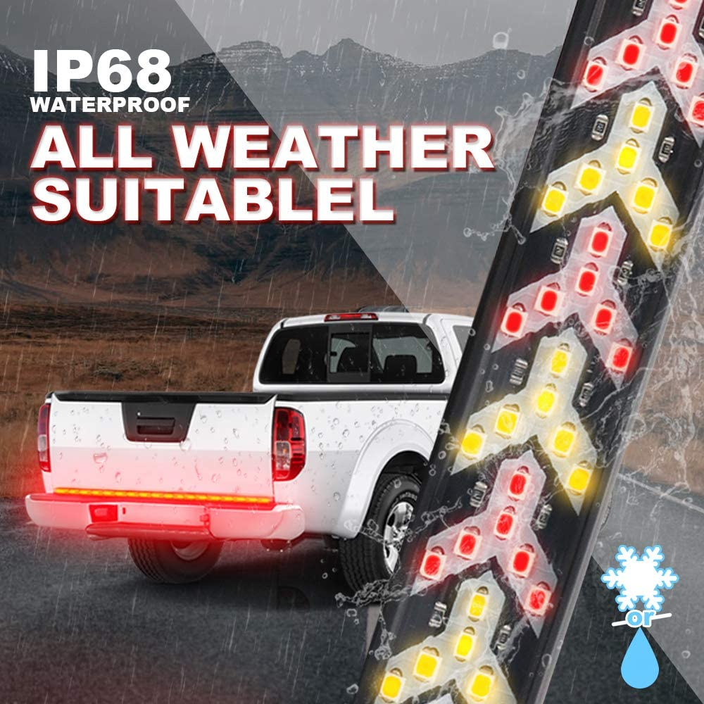 RED/&YELLOW Turn Signal Truck Tailgate Light Bar- 528LED Solid Beam Weatherproof No Drill Install -Full Function Reverse Brake Running Arrow LED Turn Signal Led 【UPGRADE】60LED Tailgate Light Bar