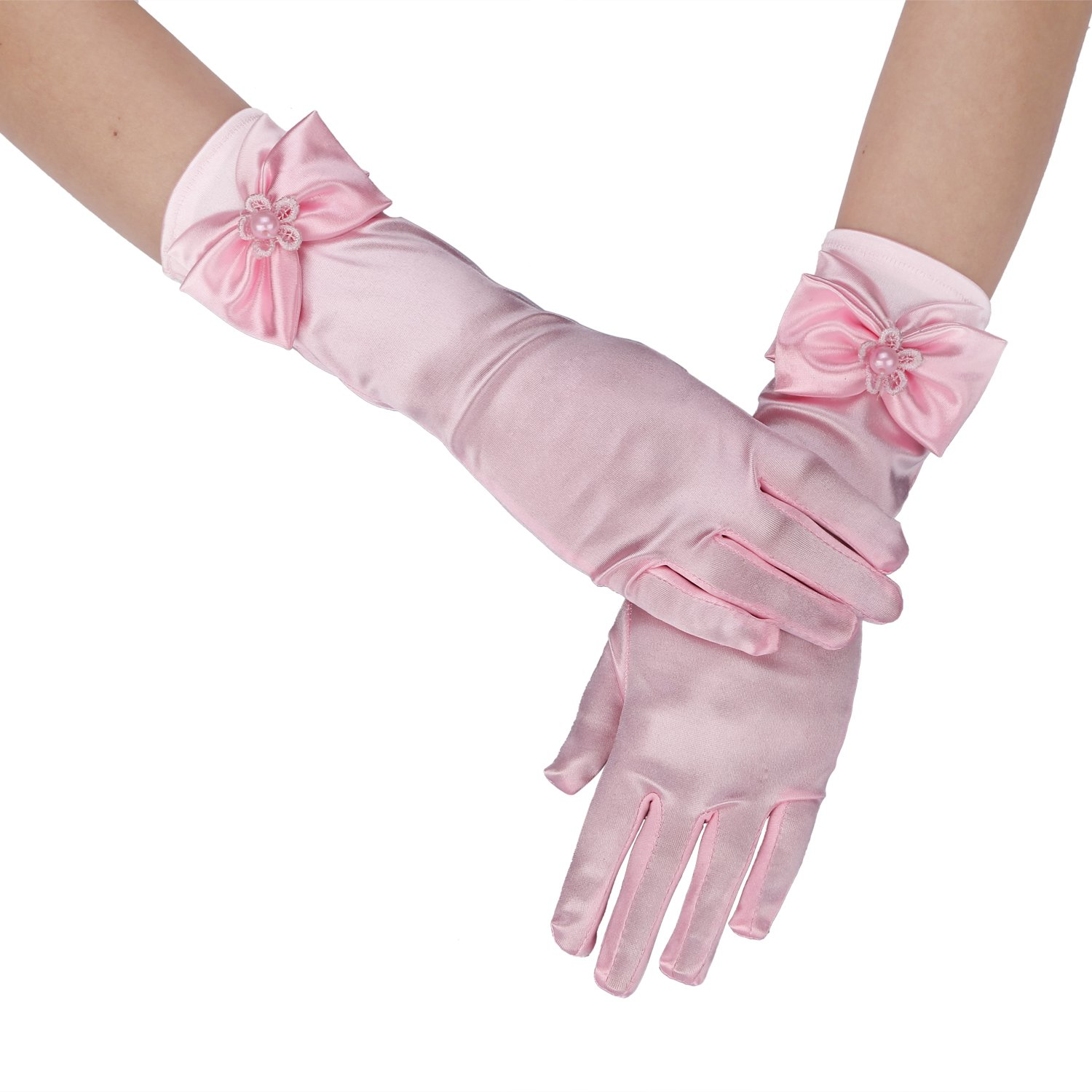 Long Satin Formal Gloves,Kids Size Full Finger with Pearl Bowknot for Girls Children Wedding Dress Evening Party Pageant,Elbow Length 10BL,Light Pink QNG002-LP