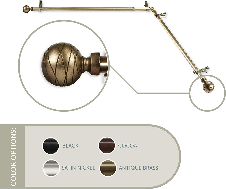 28-48 Rod Desyne Arman Double Curtain Rod 3//4 inch Dia Set Antique Brass