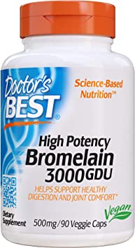 Doctors Best Bromelina 3000 Gdu De Alta Potencia, 500 Mg - 90 Cápsulas V 90 Unidades 80 g