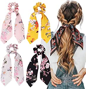 4Pcs Hair Scrunchies Silk Satin Scarf Hair Ties Elastic Hair Bands Ponytail Holder Flower Printed Hair Bobbles Vintage Accessories for Women Girls