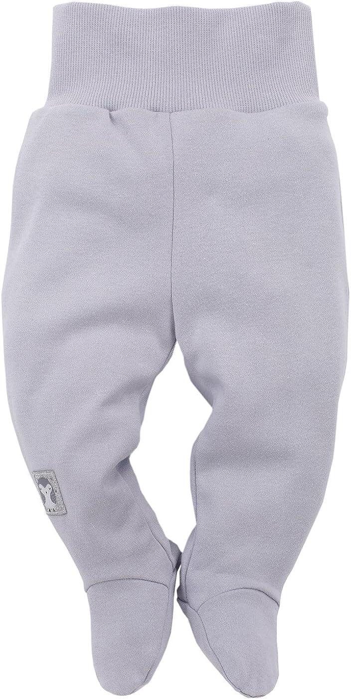 Leggins Grau oder Grau mit Sternen Glitzer Baby Hose 100/% Baumwolle elastischer Bund mit F/ü/ßchen f/ür M/ädchen Pinokio Magic Schlafhose Jogginghose