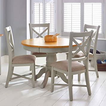 Round Extendable Dining Table Shabby Chic Wood Chairs Set Rustic Corner Extending Circular Modern Small
