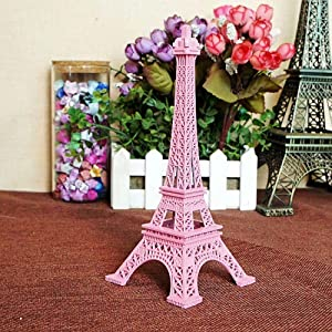 Statues,Home Decor Art Metal Pink Paris Eiffel Tower Decorations Sculptures and Statues and Figurines,25Cm