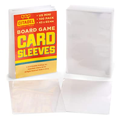 100 Pack US Mini Board Game Sleeves | Clear 43mm x 65 mm Card Portector Pack for American Board Games | Compatible with Popular Board Game and Miniature Game Brands: Toys & Games