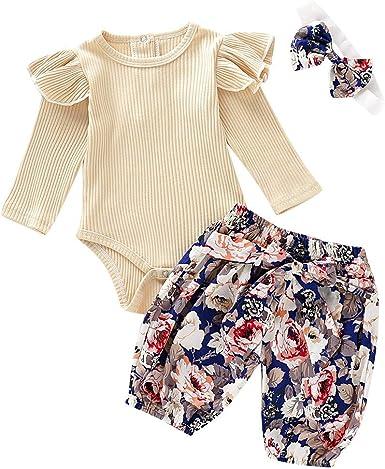 Julhold Bebé Niños Niñas Lindo Elegante Casual Soild Manga Larga Pelele+Pantalones Estampado Trajes Conjunto Ropa 0-24 Meses: Amazon.es: Ropa y accesorios