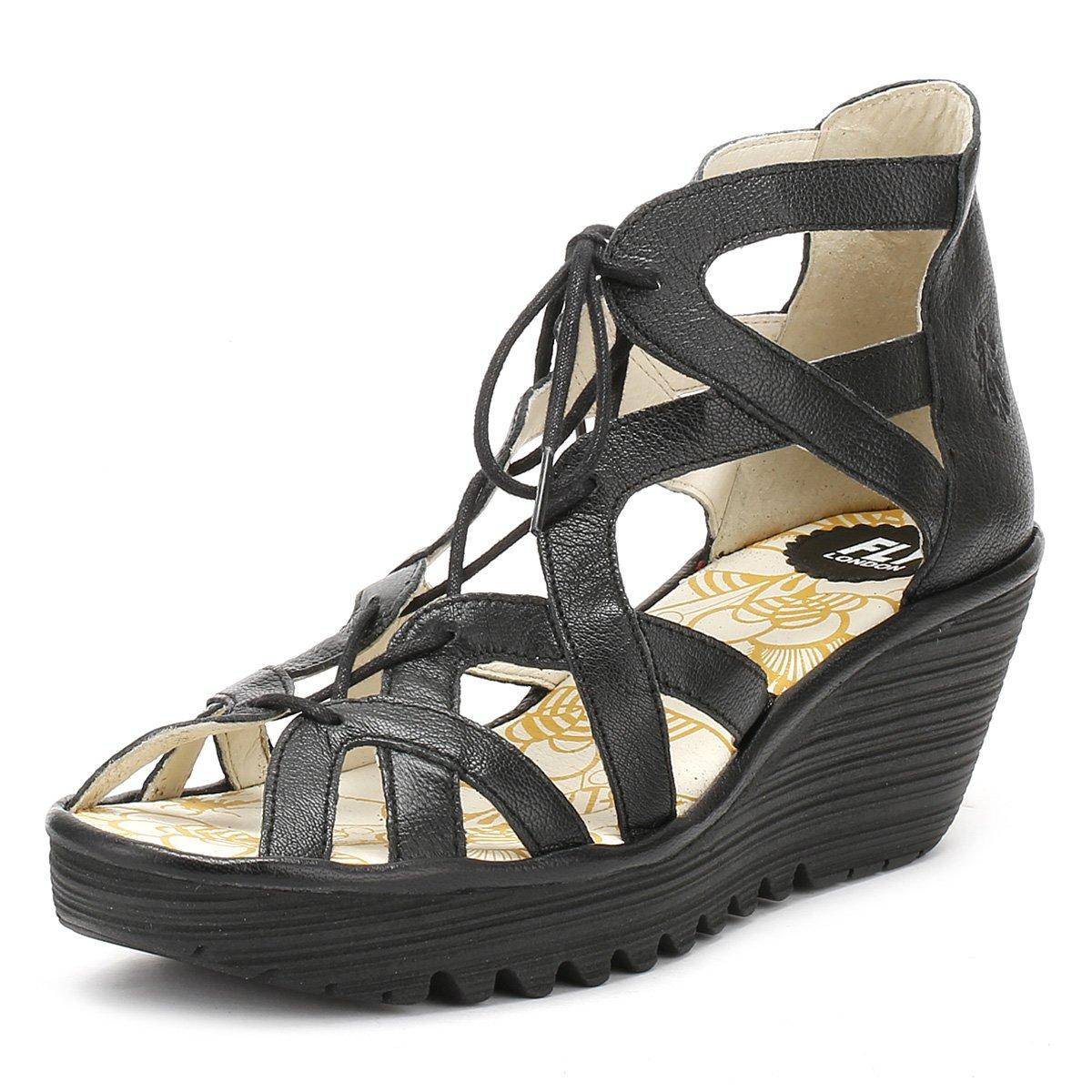 FLY London Womens YELI719FLY Wedge Leather Sandals B01NCP7KS2 37 M EU / 6.5-7 B(M) US|Black