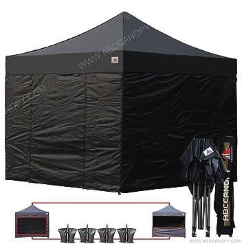 AbcCanopy Black 10 X Ez Pop Up Canopy Tent Commercial Instant Gazebos With 6 Removable