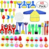 Painting Kits for Kids,Early Learning Kids Paint Set,Paint Sponges for Kids,45 Pieces Mini Flower Sponge Paint Brushes. Assorted Painting Drawing Tools in a Clear Durable Storage Pouch