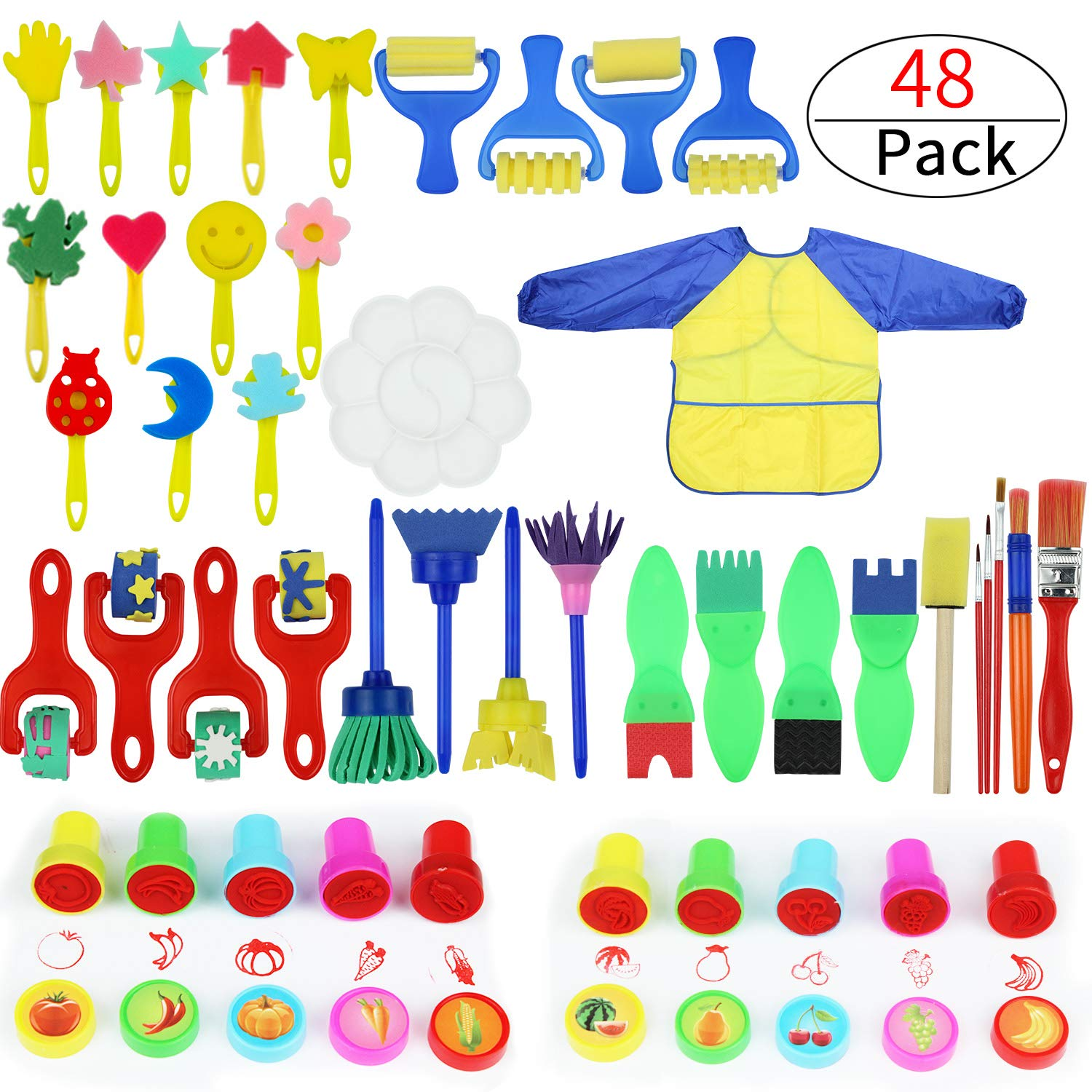 Painting Kits for Kids, Early Learning Kids Paint Set, Paint Sponges for Kids, 45 Pieces Mini Flower Sponge Paint Brushes. Assorted Painting Drawing Tools in a Clear Durable Storage Pouch Zoneyee
