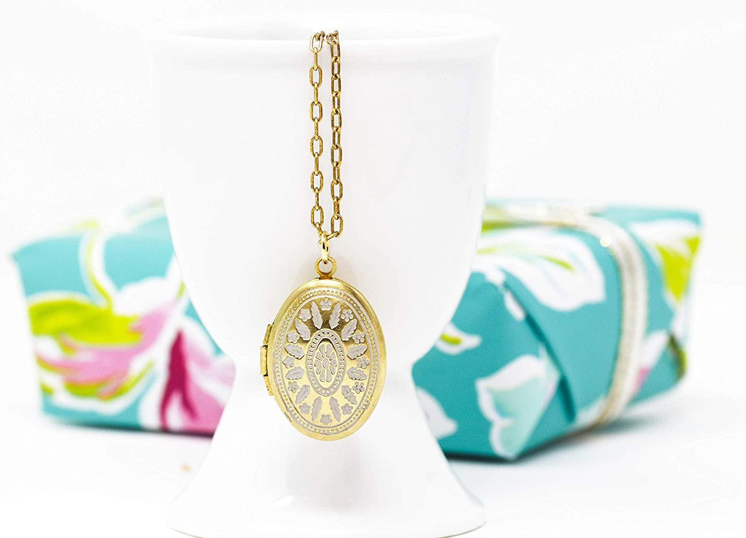 Small Gold Brass Oval Locket With White Patina