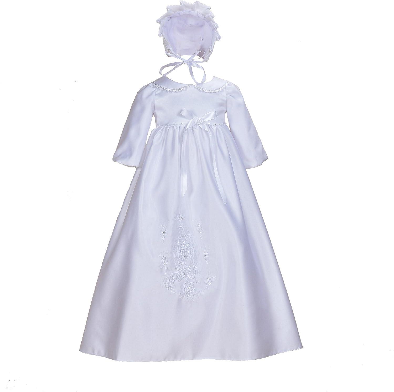 Cinda Mangas largas para bebé Tradicionales de Raso Vestido de Bautizo y el capó