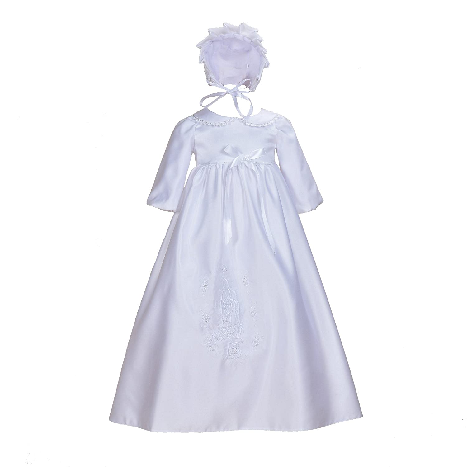 Cinda Baby Girls' Traditional Satin Christening Gown and Bonnet