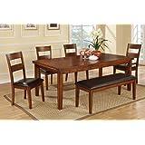 poundex f2191 u0026 f1231 u0026 f1232 oak table u0026 black vinyl chairsbench - Oak Table And Chairs