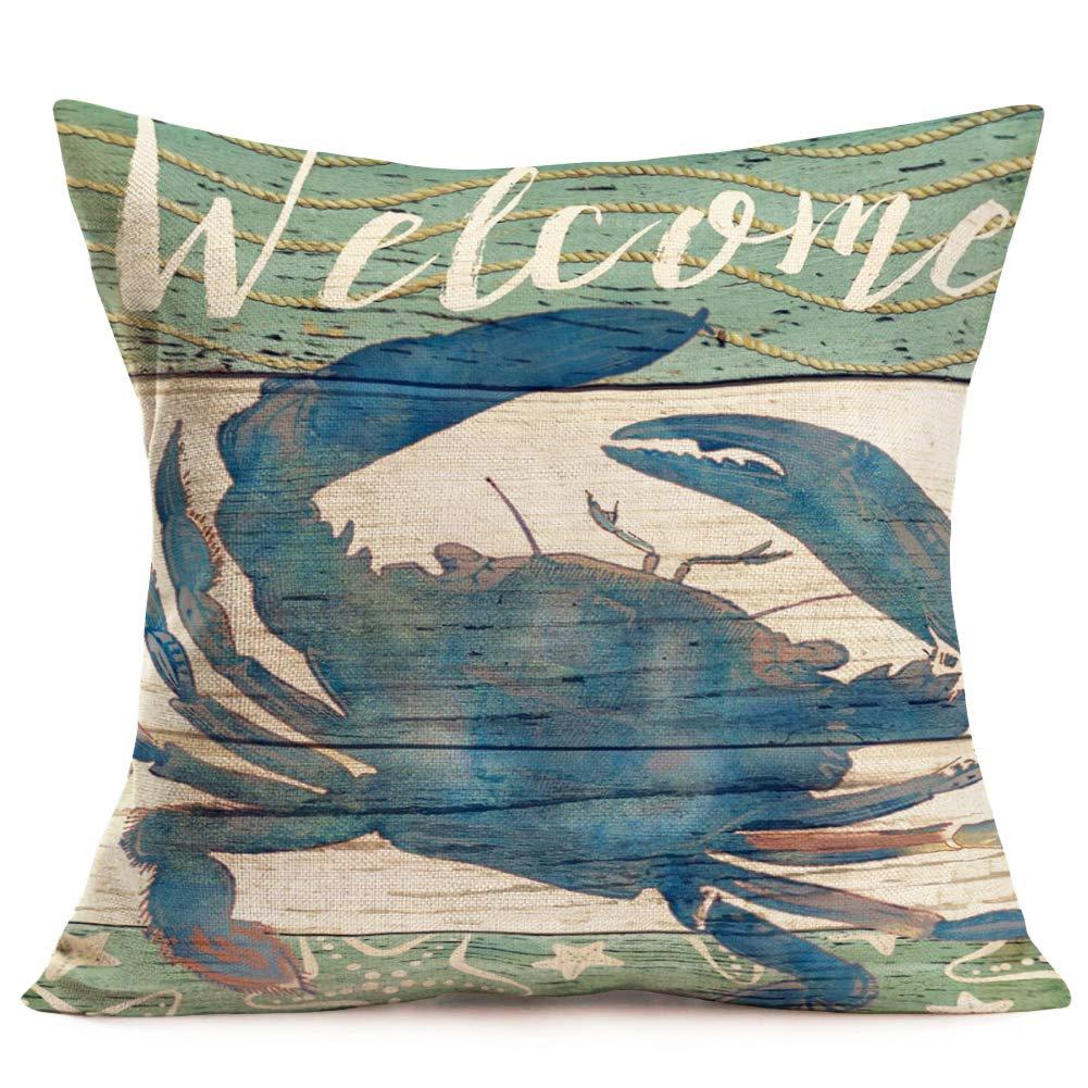 Smilyard Marine Life コットンリネン スローピローケース クッションカバー ホームソファ装飾 18 x 18インチ  カニ B07S7ZMLZJ