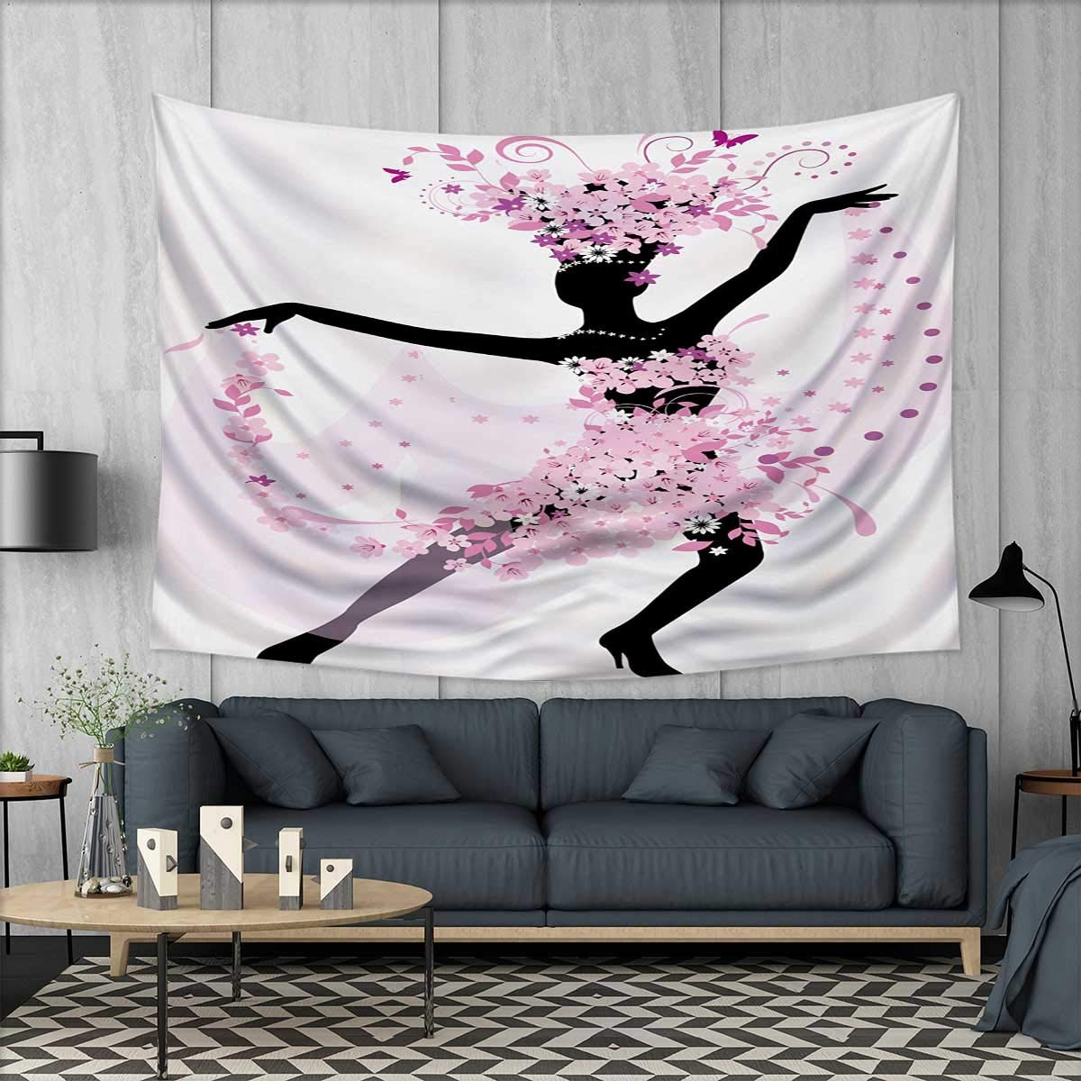 Anhuthree Latin Wall Tapestry Silhouette of a Woman Dancing Samba Salsa Latin Dances Spain and Mexico Culture Print Home Decorations for Living Room Bedroom 80''x60'' Pink Black
