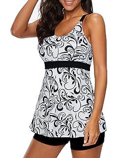 Century Star Two Piece Swimsuits for Women Tummy Control Skirt Swimwear Ruched Retro Slim Swimdress Bathing Suit