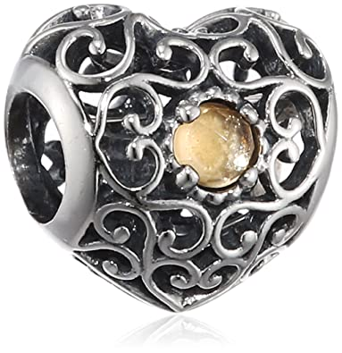 c42dd200f Image Unavailable. Image not available for. Color: Pandora 791784ci November  Signature Heart Citrine Charm
