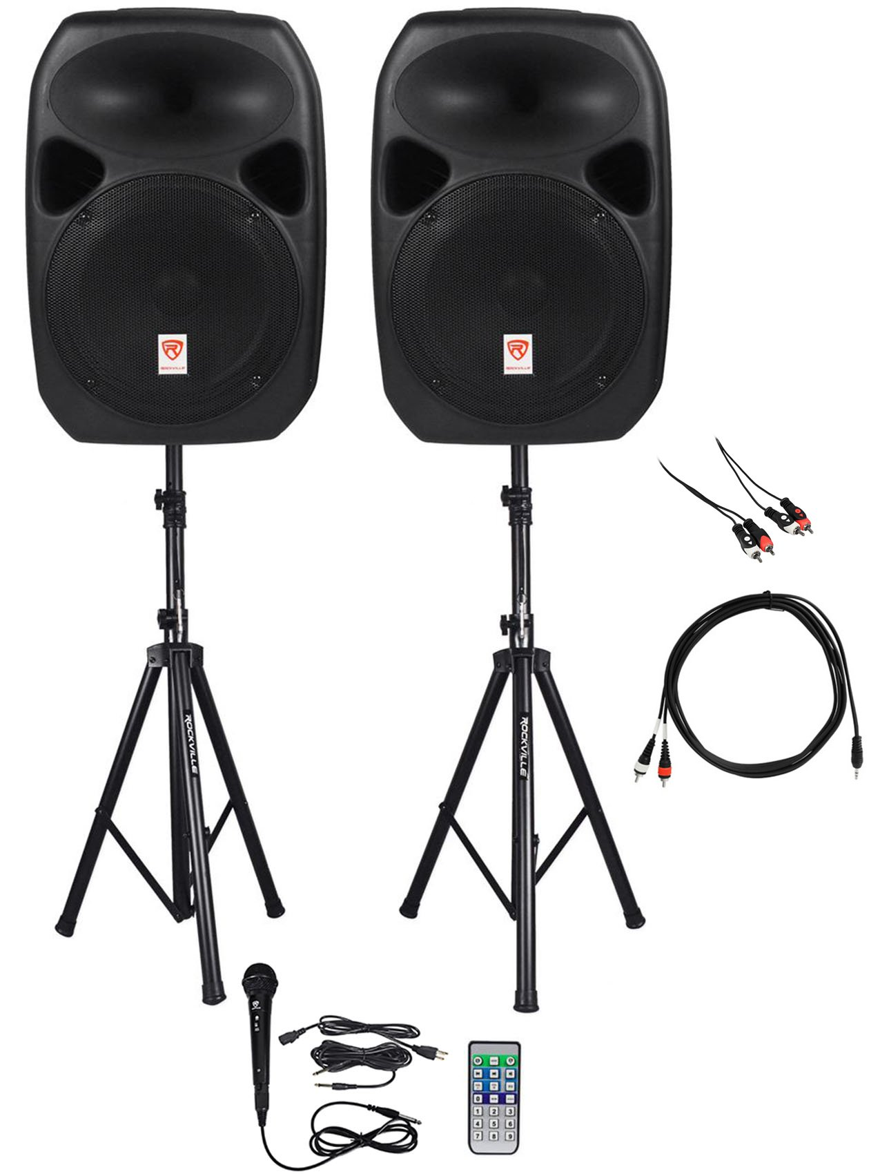 Rockville Power GIG RPG-122K All In One DJ/PA Package (2) 12'' DJ/PA Speakers 1000 Watts Peak Power/250 Watts RMS with Built in Bluetooth, USB/SD Player, FM Tuner, Speaker Stands and a Wired Microphone