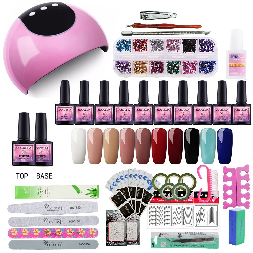 Saint-Acior 24W UV/LED Lámpara Secador de Uñas Kit Uñas de Gel 10PC Esmalte Semipermanente Sock-Off 8ml Primer Uñas Base Coat Herramiento de Uñas Arte