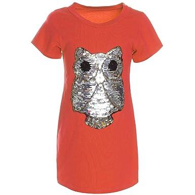 Shirt,T-Shirt  Tunika Mädchen,Kurzarm,Bluse Top mit Pailletten