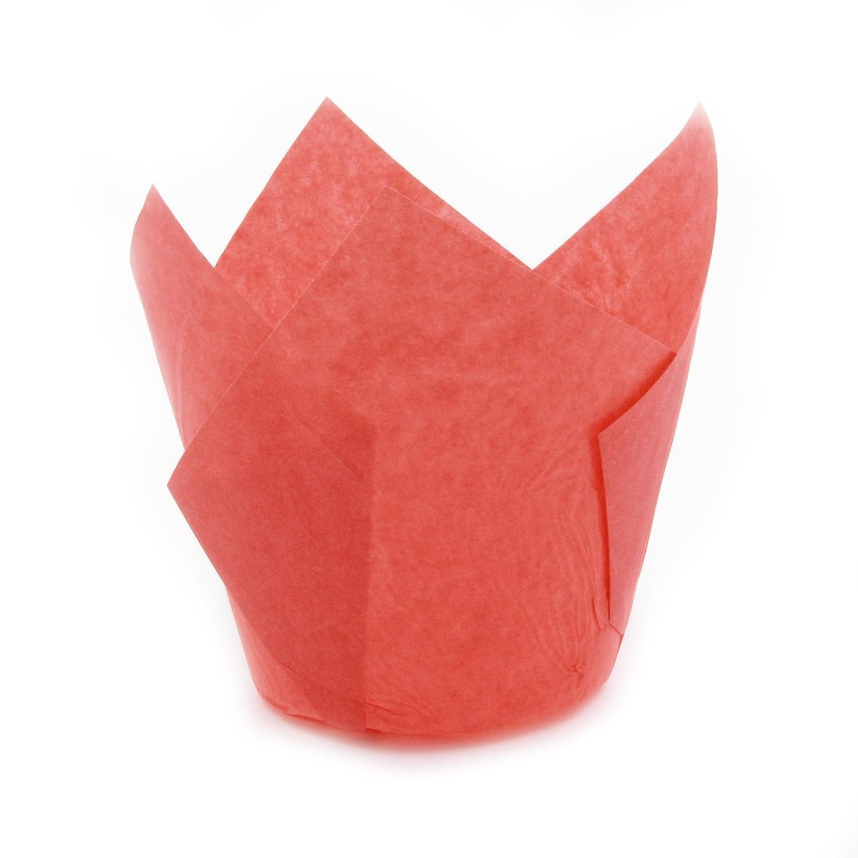 チューリップ型カップケーキライナー ペーパーベーキングカップ 簡単取り出しマフィンカップ/グリース不要 香フィンやカップケーキを焼くのに最適、Mサイズ:先端 高さ 3 -17 / 64インチ x 1 -57 / 64インチ。 Medium H 3-17 / 64