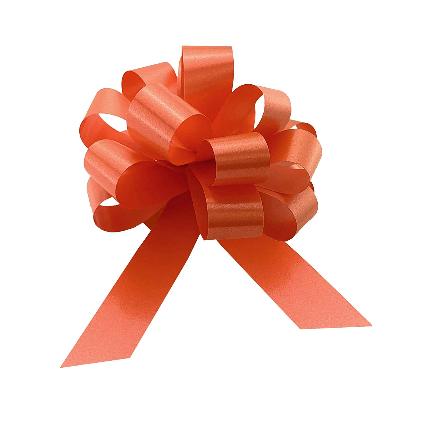 Birthday Fundraiser Gift Wrapping Ribbon Bow Decorations for Presents 4 in Orange Satin Easter Pull Bows Wide Mothers Day 10 cm Thanksgiving Halloween Set of 50 Christmas Fathers Day