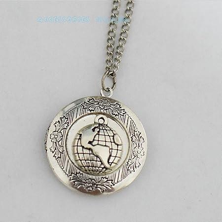 Silver world map locket necklace world map locket pendant world map silver world map locket necklace world map locket pendant world map necklace locket vintage globe pendant gumiabroncs Images