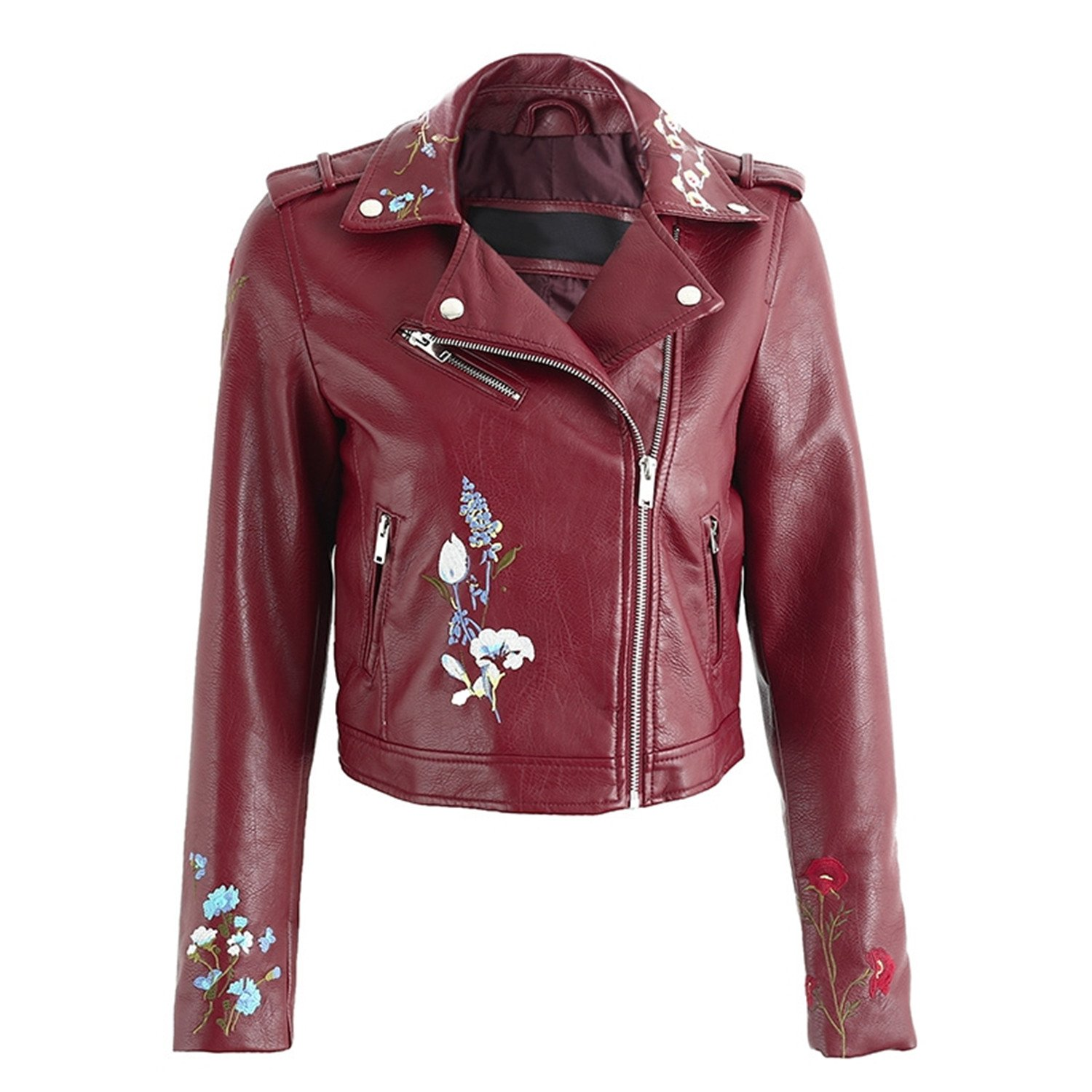 87bac73b5c Marvin Cook Embroidery Faux Leather Coat Motorcycle Zipper Wine Red Leather  Jacket Women Fashion Cool Outerwear Winter Jacket at Amazon Women's Coats  Shop