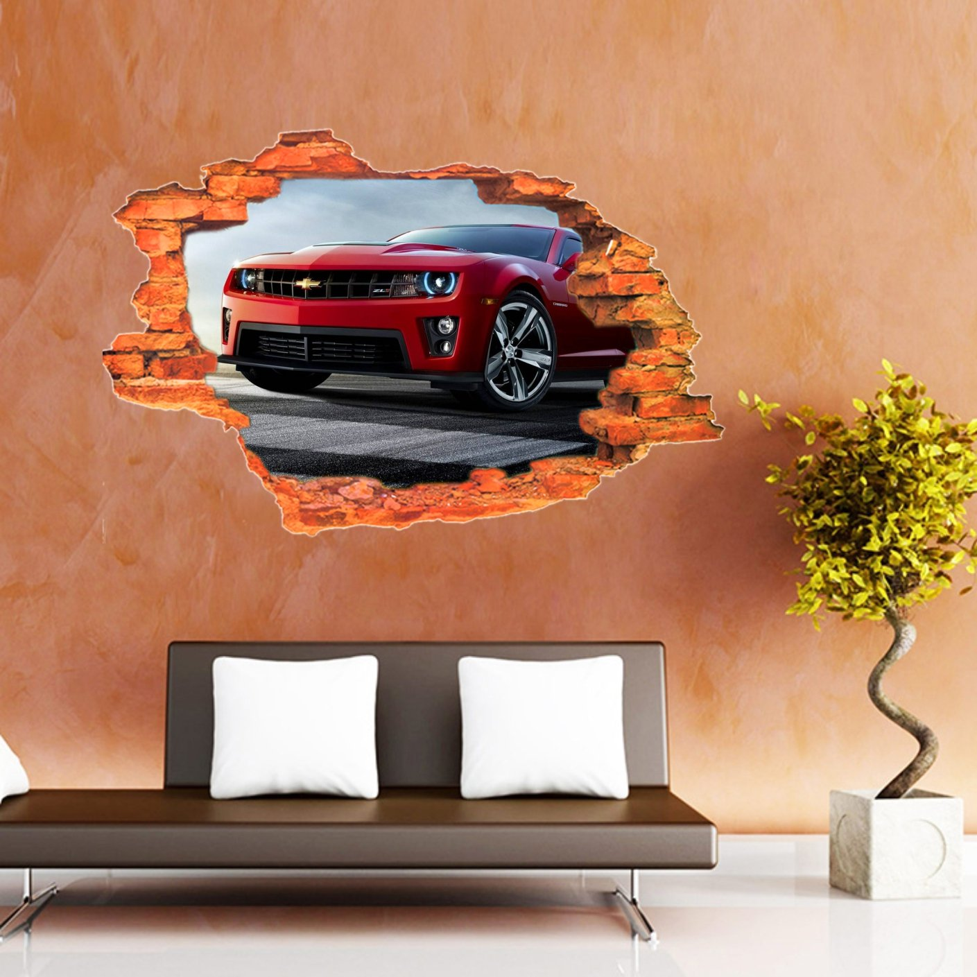 Buy Creatick Studio Red Car 3d Wall Poster Wallpaper Wall Sticker Home Decor Stickers 73 66 Cm X 48 26 Cm Online At Low Prices In India Amazon In