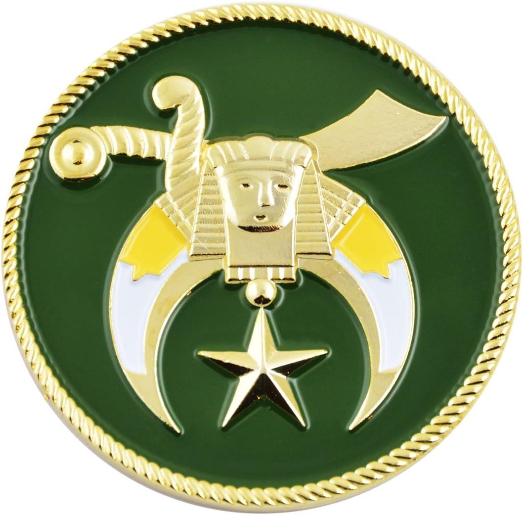 Shriner Green /& Gold Masonic Auto Emblem 2 Diameter
