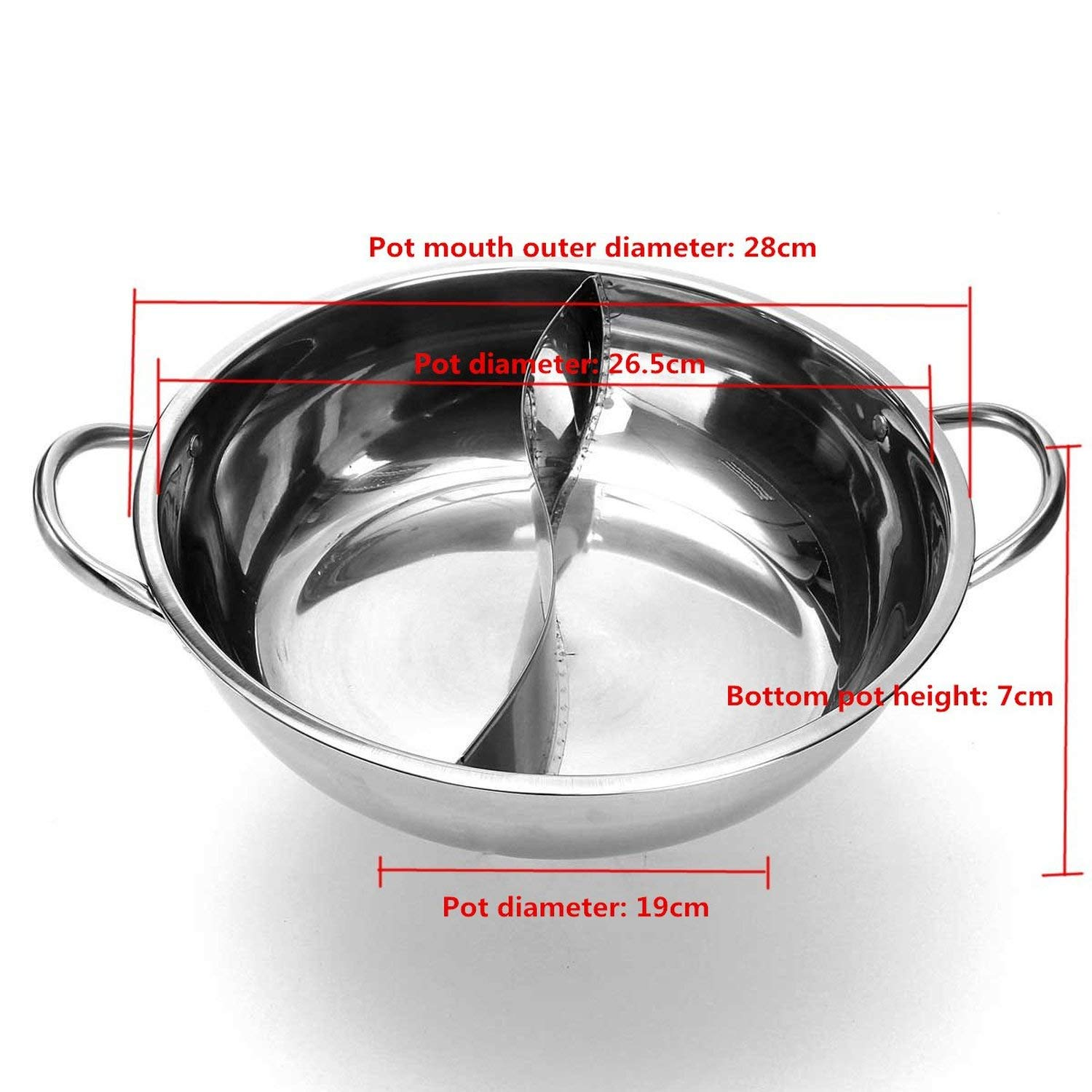 Hot Pot Twin Divided Stainless Steel 28cm Cookware Induction Little Sheep Pot Hot Pot Ruled Compatible Soup Stock Pots