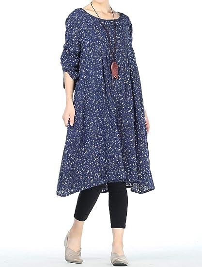 Mallimoda Donna Camicia Estate Manica Corta Plaid A-Line Stile Dress Vestito Camicia